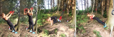 woodland workout hannah on suspension trainer collage
